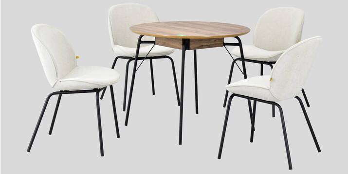 AYHANPARK KODU -10 - Big Beyaz Sandalye Hopa Kestane Mutfak Masası Takımı