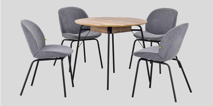 AYHANPARK KODU -10 - Big Gri Sandalye Hopa Kestane Mutfak Masası Takımı