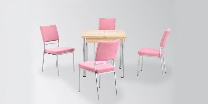 AYHANPARK KODU -10 - Ece 08080 MDF Masa İpek Sandalye Mutfak Masası Takımı