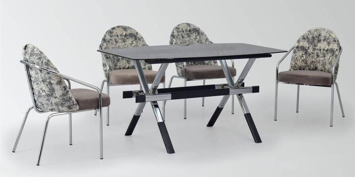 AYHANPARK KODU -10 - Midyat Sandalye İstanbul Cam Mutfak Masası Takımı