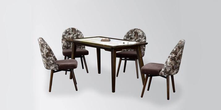 AYHANPARK KODU -10 - Midyat Sandalye Dafne Granit Mutfak Masası Takımı