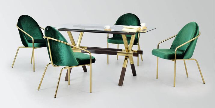 AYHANPARK KODU -10 - Midyat Yeşil Kadife Sandalye İstanbul Cam Mutfak Masası Takımı