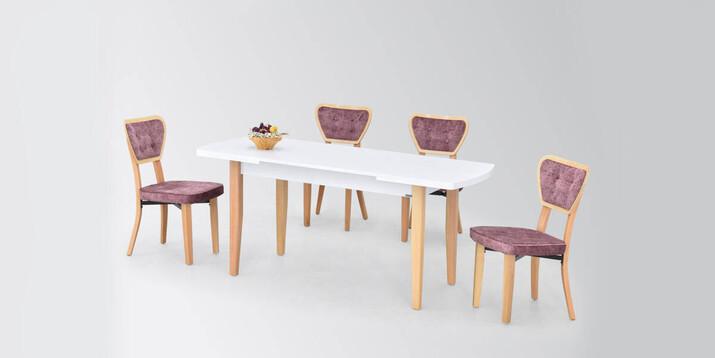 AYHANPARK KODU -10 - Anka MDF Masa Mir 03 Sandalye Mutfak Masası Takımı